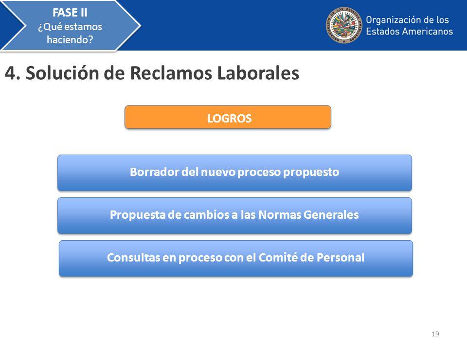 4. Solución de Reclamos Laborales Propuesta de cambios a las Normas Generales Borrador del nuevo proceso propuesto Consultas en proceso con el Comité
