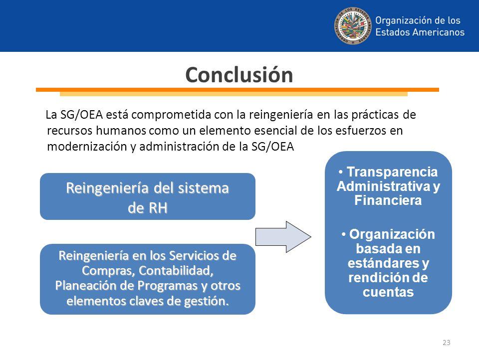 La SG/OEA está comprometida con la reingeniería en las prácticas de recursos humanos como un elemento esencial de los esfuerzos en modernización y adm