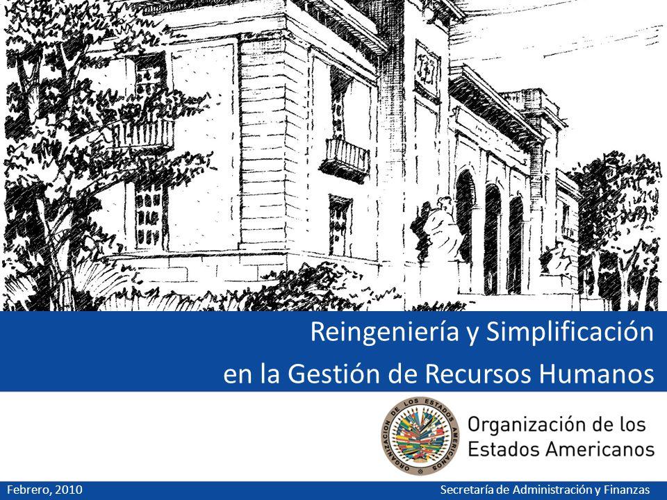 Reingeniería y Simplificación en la Gestión de Recursos Humanos Febrero, 2010Secretaría de Administración y Finanzas