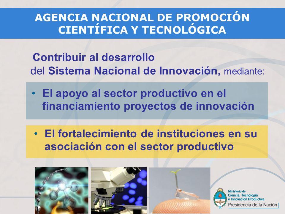 El apoyo al sector productivo en el financiamiento proyectos de innovación El fortalecimiento de instituciones en su asociación con el sector productivo Contribuir al desarrollo del Sistema Nacional de Innovación, mediante: AGENCIA NACIONAL DE PROMOCIÓN CIENTÍFICA Y TECNOLÓGICA