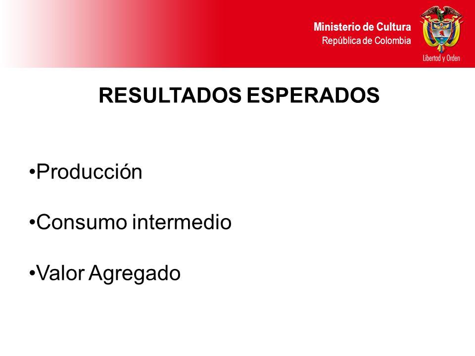 RESULTADOS ESPERADOS Producción Consumo intermedio Valor Agregado Ministerio de Cultura República de Colombia