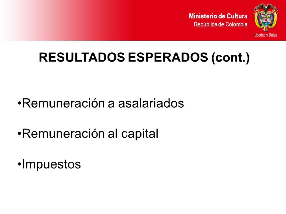 RESULTADOS ESPERADOS (cont.) Remuneración a asalariados Remuneración al capital Impuestos Ministerio de Cultura República de Colombia