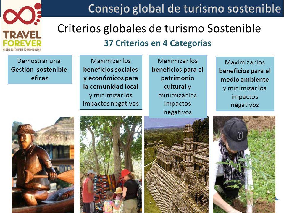 37 Criterios en 4 Categorías Demostrar una Gestión sostenible eficaz Maximizar los beneficios sociales y económicos para la comunidad local y minimizar los impactos negativos Maximizar los beneficios para el patrimonio cultural y minimizar los impactos negativos Maximizar los beneficios para el medio ambiente y minimizar los impactos negativos Criterios globales de turismo Sostenible