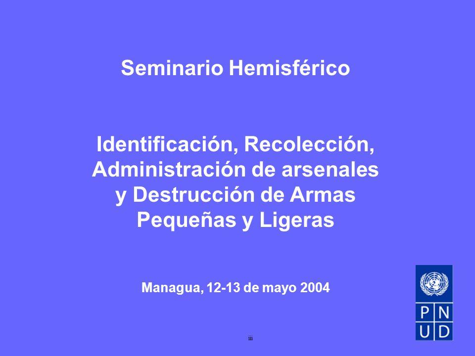 Seminario Hemisférico Identificación, Recolección, Administración de arsenales y Destrucción de Armas Pequeñas y Ligeras Managua, 12-13 de mayo 2004 iii