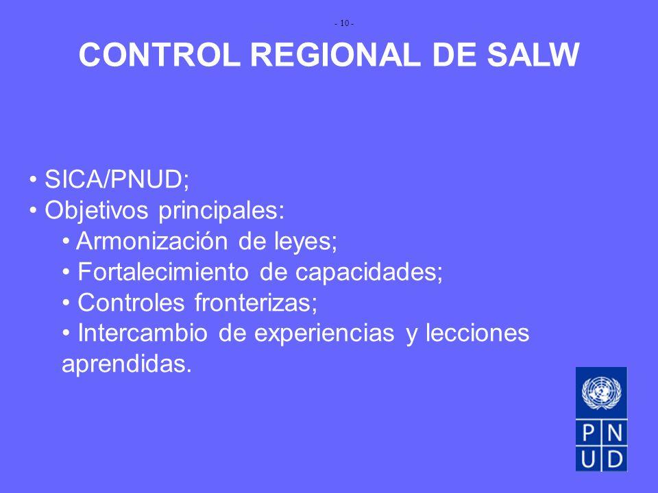 CONTROL REGIONAL DE SALW SICA/PNUD; Objetivos principales: Armonización de leyes; Fortalecimiento de capacidades; Controles fronterizas; Intercambio de experiencias y lecciones aprendidas.