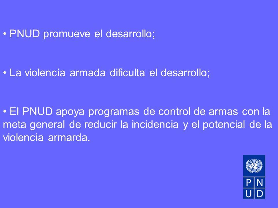 PNUD promueve el desarrollo; La violencia armada dificulta el desarrollo; El PNUD apoya programas de control de armas con la meta general de reducir la incidencia y el potencial de la violencia armarda.