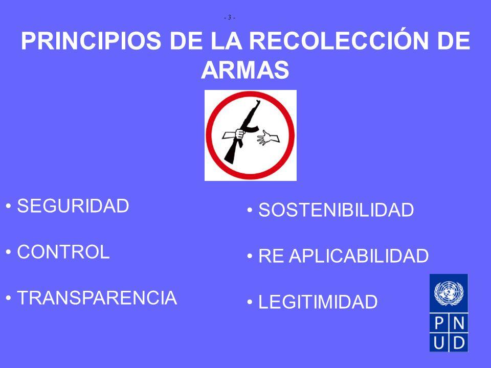 PRINCIPIOS DE LA RECOLECCIÓN DE ARMAS SEGURIDAD CONTROL TRANSPARENCIA SOSTENIBILIDAD RE APLICABILIDAD LEGITIMIDAD - 3 -