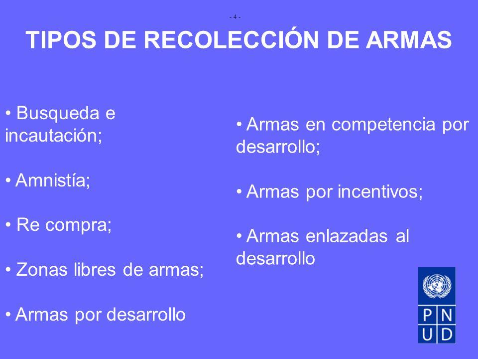 TIPOS DE RECOLECCIÓN DE ARMAS Busqueda e incautación; Amnistía; Re compra; Zonas libres de armas; Armas por desarrollo Armas en competencia por desarrollo; Armas por incentivos; Armas enlazadas al desarrollo - 4 -