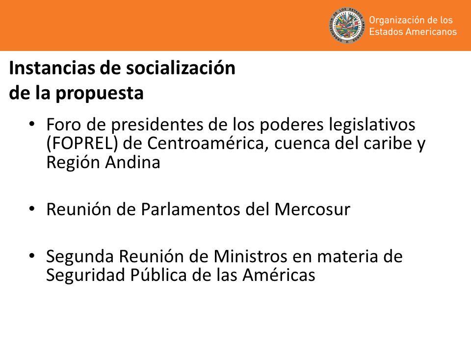 Instancias de socialización de la propuesta Foro de presidentes de los poderes legislativos (FOPREL) de Centroamérica, cuenca del caribe y Región Andina Reunión de Parlamentos del Mercosur Segunda Reunión de Ministros en materia de Seguridad Pública de las Américas