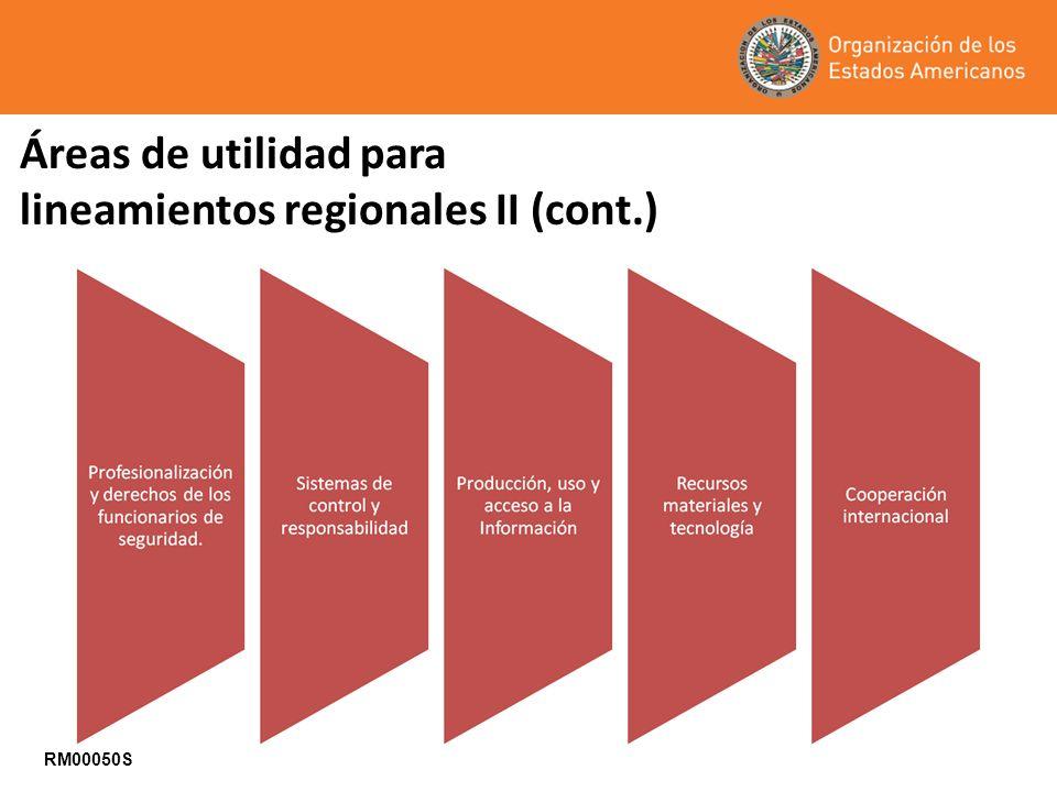 Áreas de utilidad para lineamientos regionales II (cont.) RM00050S