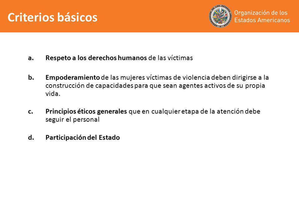 a.Respeto a los derechos humanos de las víctimas b.Empoderamiento de las mujeres víctimas de violencia deben dirigirse a la construcción de capacidade