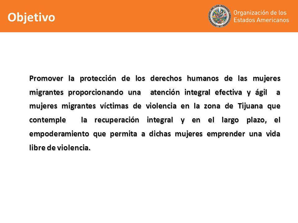 Promover la protección de los derechos humanos de las mujeres migrantes proporcionando una atención integral efectiva y ágil a mujeres migrantes vícti
