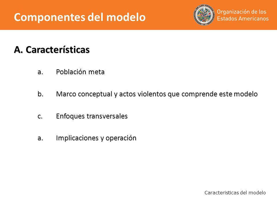 A. Características a.Población meta b.Marco conceptual y actos violentos que comprende este modelo c.Enfoques transversales a.Implicaciones y operació
