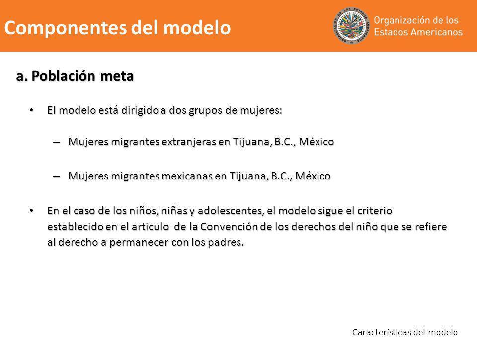 a. Población meta El modelo está dirigido a dos grupos de mujeres: El modelo está dirigido a dos grupos de mujeres: – Mujeres migrantes extranjeras en