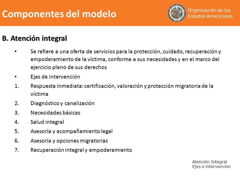 B. Atención integral Se refiere a una oferta de servicios para la protección, cuidado, recuperación y empoderamiento de la víctima, conforme a sus nec