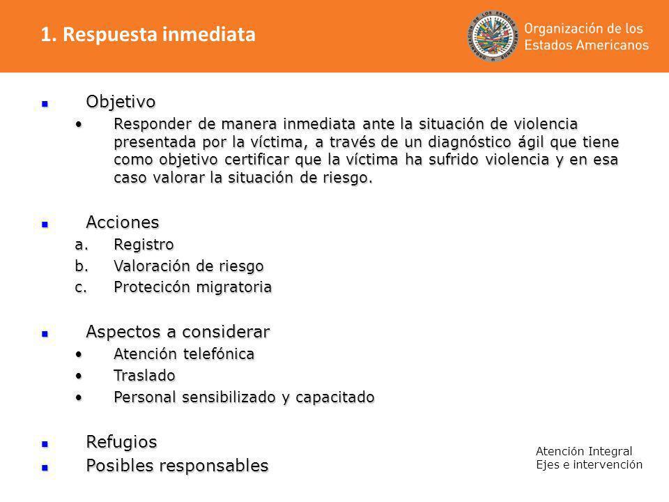 Atención Integral Ejes e intervención Objetivo Objetivo Responder de manera inmediata ante la situación de violencia presentada por la víctima, a trav