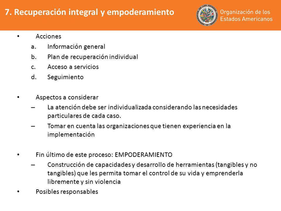 7. Recuperación integral y empoderamiento Acciones Acciones a.Información general b.Plan de recuperación individual c.Acceso a servicios d.Seguimiento