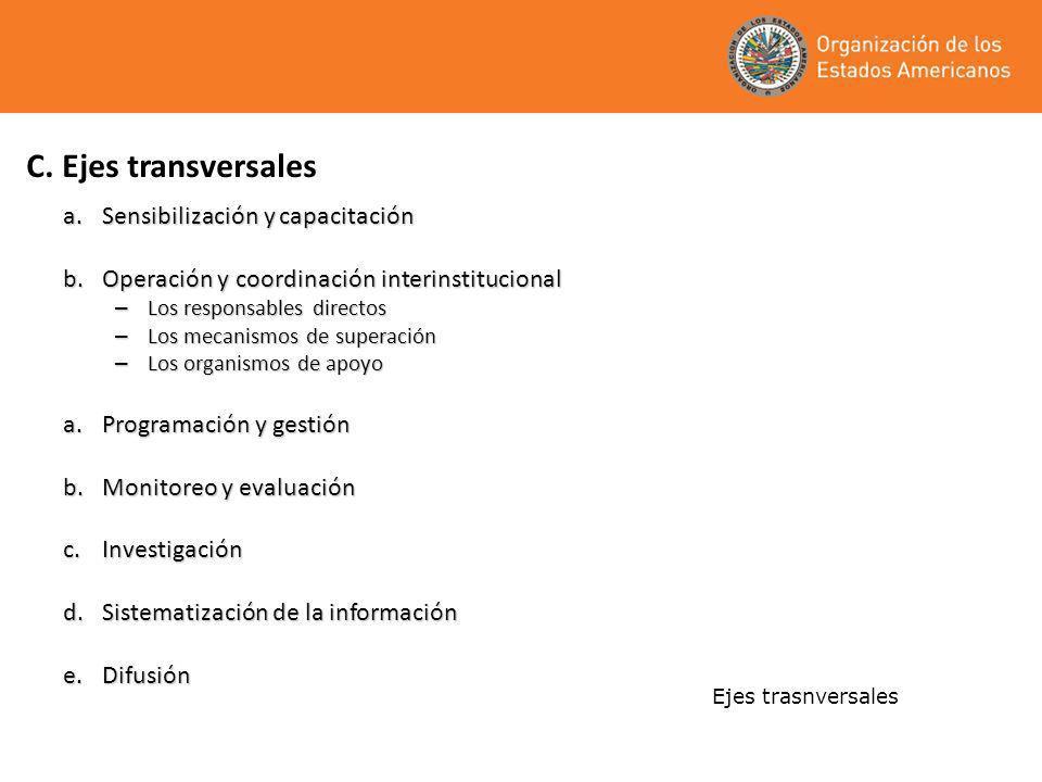 C. Ejes transversales a.Sensibilización y capacitación b.Operación y coordinación interinstitucional – Los responsables directos – Los mecanismos de s