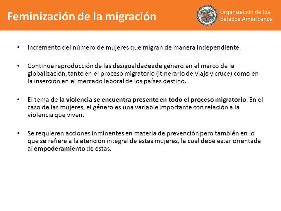 Incremento del número de mujeres que migran de manera independiente. Incremento del número de mujeres que migran de manera independiente. Continua rep