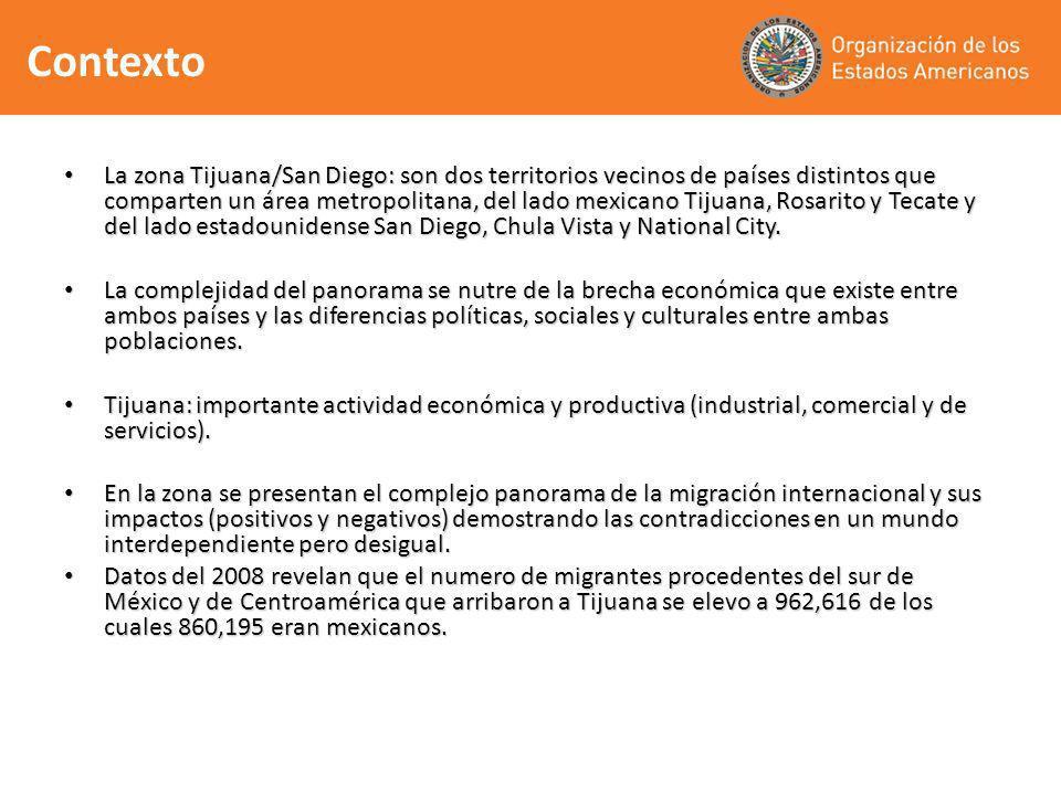 La zona Tijuana/San Diego: son dos territorios vecinos de países distintos que comparten un área metropolitana, del lado mexicano Tijuana, Rosarito y