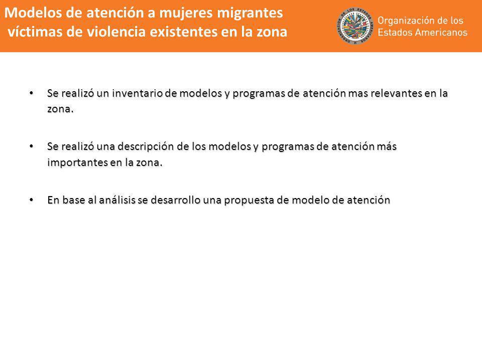 Modelos de atención a mujeres migrantes víctimas de violencia existentes en la zona Se realizó un inventario de modelos y programas de atención mas re