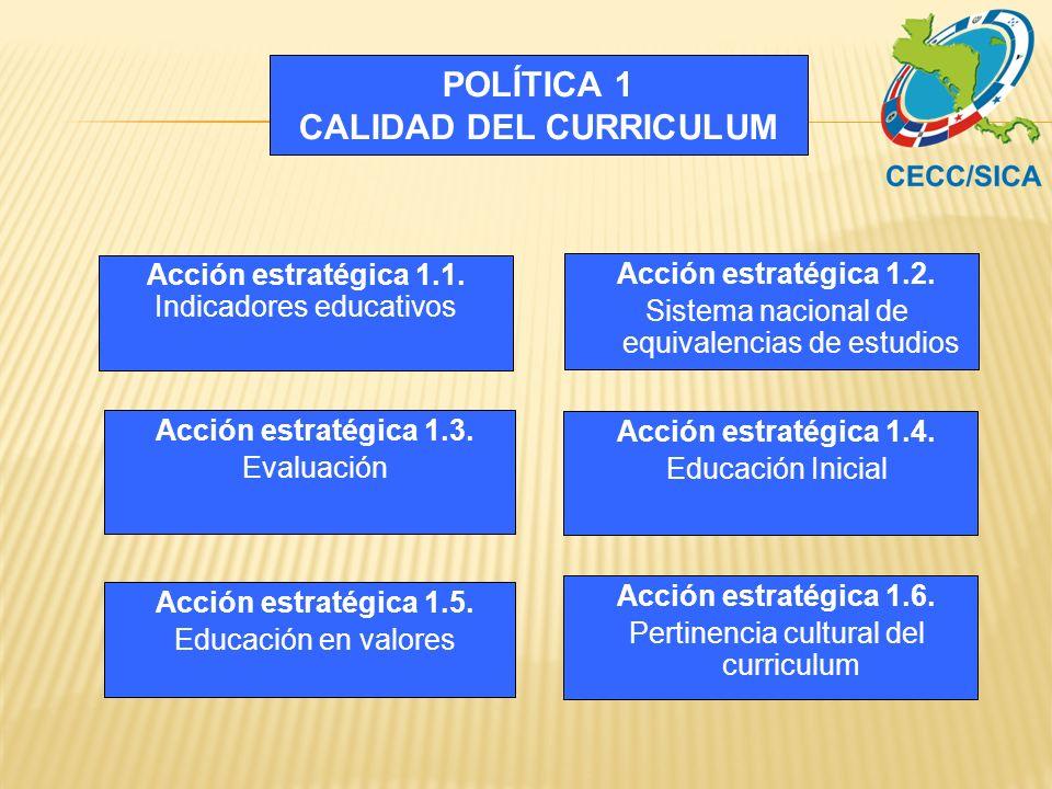 POLÍTICA 1 CALIDAD DEL CURRICULUM Acción estratégica 1.2. Sistema nacional de equivalencias de estudios Acción estratégica 1.3. Evaluación Acción estr