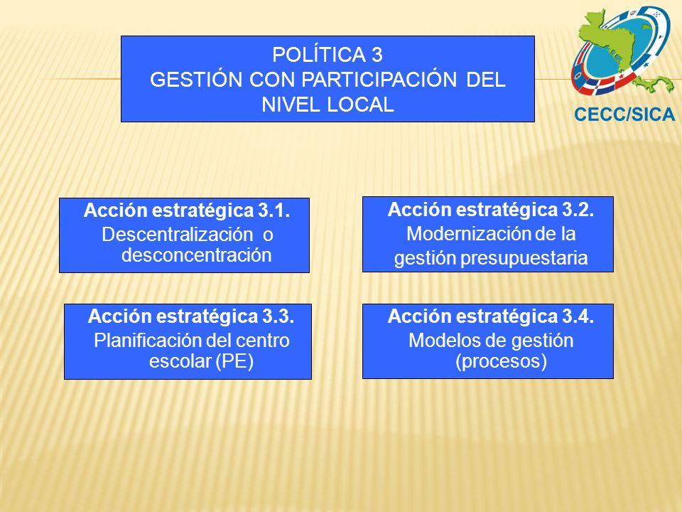 POLÍTICA 3 GESTIÓN CON PARTICIPACIÓN DEL NIVEL LOCAL Acción estratégica 3.2. Modernización de la gestión presupuestaria Acción estratégica 3.3. Planif