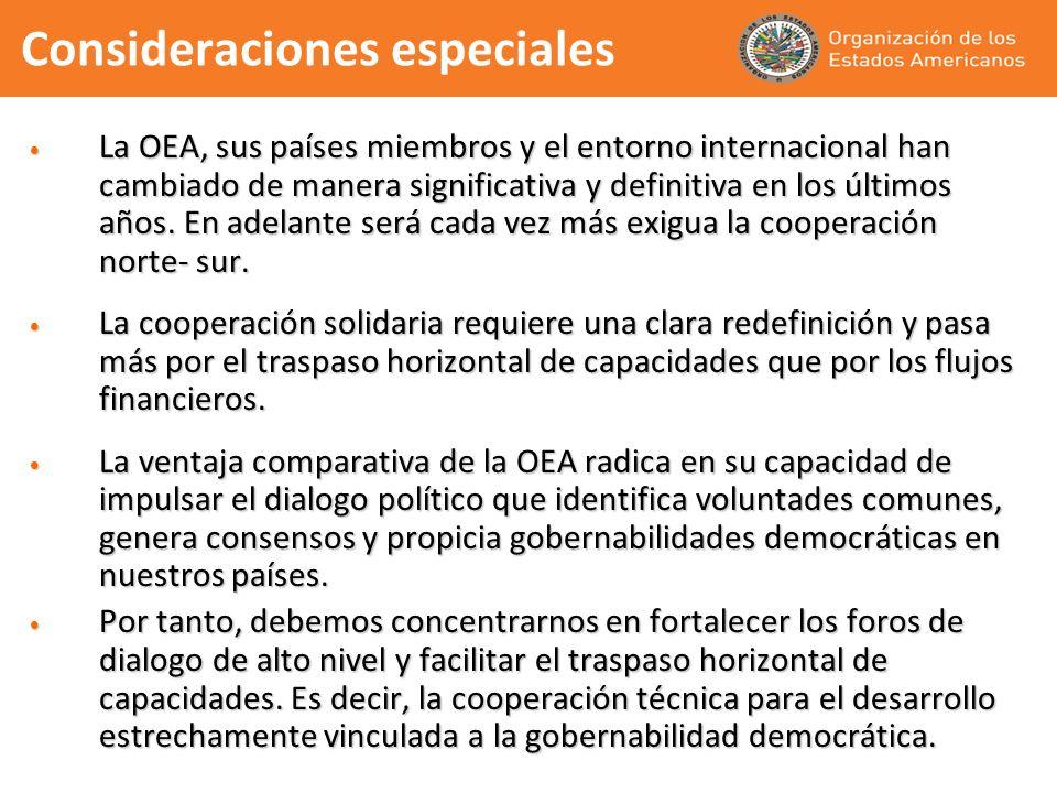 Consideraciones especiales La OEA, sus países miembros y el entorno internacional han cambiado de manera significativa y definitiva en los últimos año