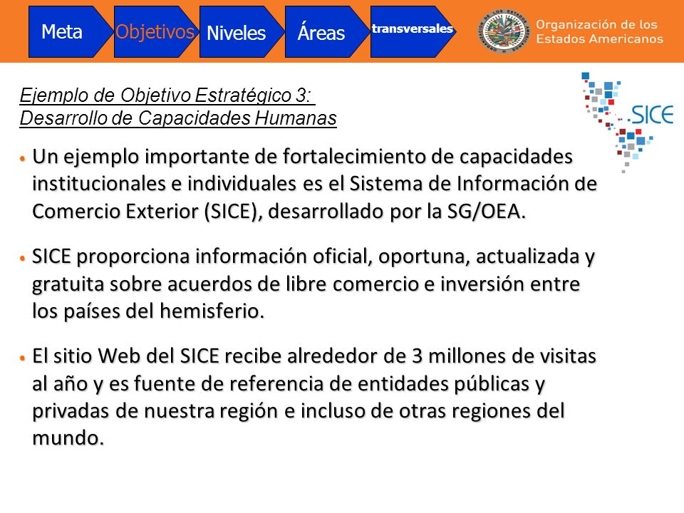 Un ejemplo importante de fortalecimiento de capacidades institucionales e individuales es el Sistema de Información de Comercio Exterior (SICE), desar