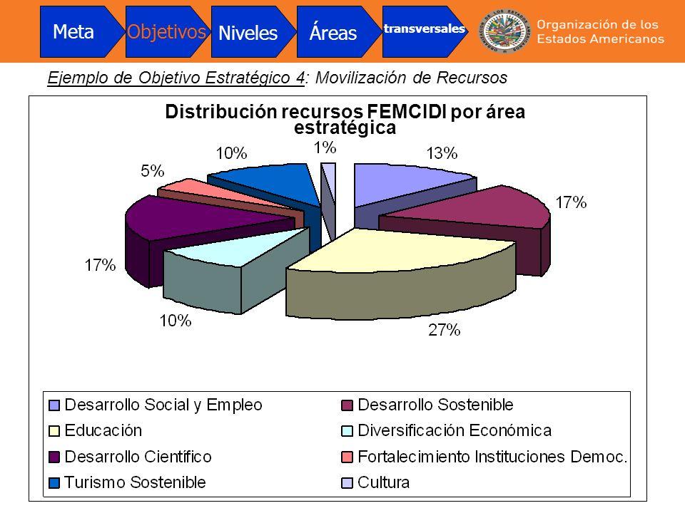 Distribución recursos FEMCIDI por área estratégica MetaObjetivos NivelesÁreas transversales Ejemplo de Objetivo Estratégico 4: Movilización de Recurso