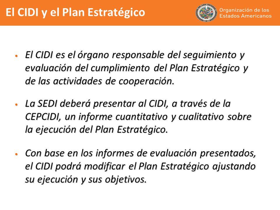El CIDI y el Plan Estratégico El CIDI es el órgano responsable del seguimiento y evaluación del cumplimiento del Plan Estratégico y de las actividades