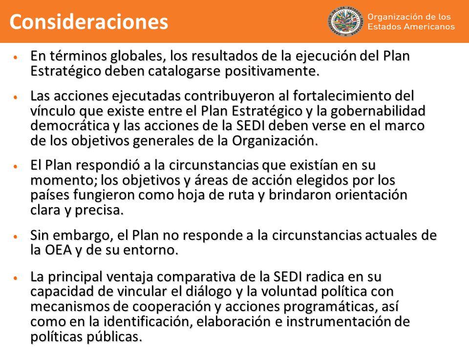 Consideraciones En términos globales, los resultados de la ejecución del Plan Estratégico deben catalogarse positivamente. En términos globales, los r