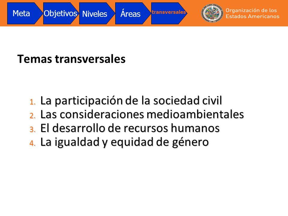 Temas transversales 1. La participación de la sociedad civil 2. Las consideraciones medioambientales 3. El desarrollo de recursos humanos 4. La iguald