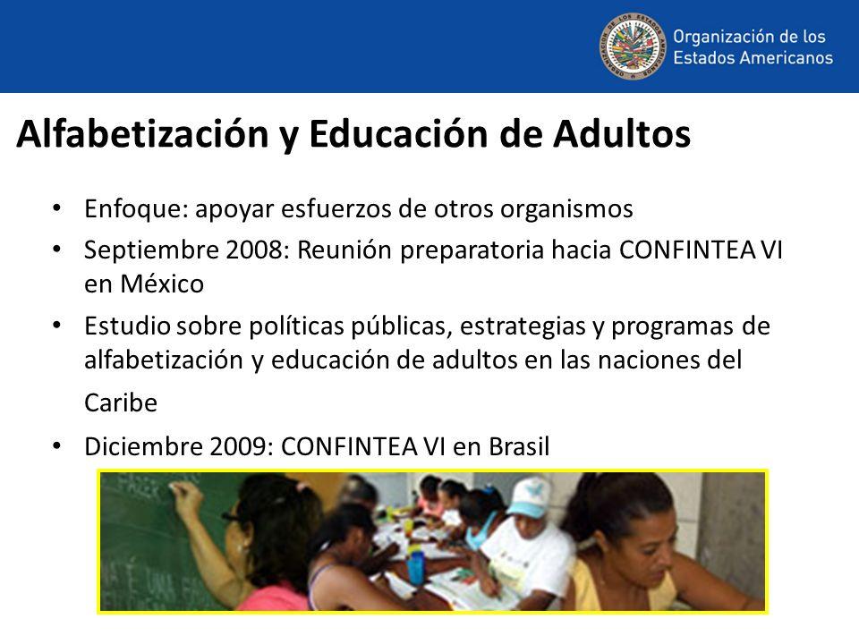 Alfabetización y Educación de Adultos Enfoque: apoyar esfuerzos de otros organismos Septiembre 2008: Reunión preparatoria hacia CONFINTEA VI en México Estudio sobre políticas públicas, estrategias y programas de alfabetización y educación de adultos en las naciones del Caribe Diciembre 2009: CONFINTEA VI en Brasil