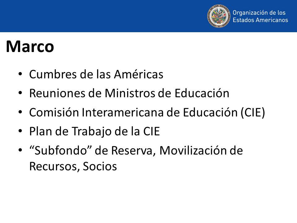 Marco Cumbres de las Américas Reuniones de Ministros de Educación Comisión Interamericana de Educación (CIE) Plan de Trabajo de la CIE Subfondo de Reserva, Movilización de Recursos, Socios