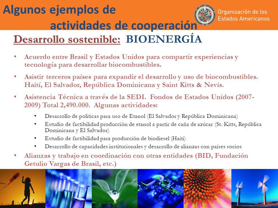 Algunos ejemplos de actividades de cooperación Acuerdo entre Brasil y Estados Unidos para compartir experiencias y tecnología para desarrollar biocombustibles.