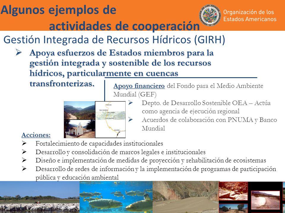 Gestión Integrada de Recursos Hídricos (GIRH) Apoya esfuerzos de Estados miembros para la gestión integrada y sostenible de los recursos hídricos, particularmente en cuencas transfronterizas.