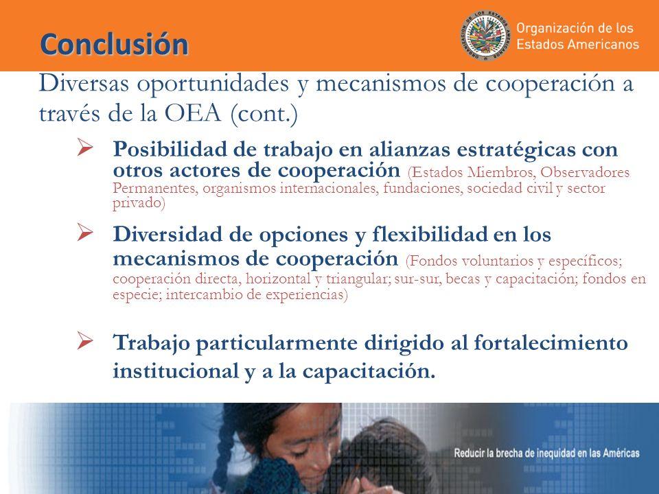 Conclusión Diversas oportunidades y mecanismos de cooperación a través de la OEA (cont.) Posibilidad de trabajo en alianzas estratégicas con otros actores de cooperación (Estados Miembros, Observadores Permanentes, organismos internacionales, fundaciones, sociedad civil y sector privado) Diversidad de opciones y flexibilidad en los mecanismos de cooperación (Fondos voluntarios y específicos; cooperación directa, horizontal y triangular; sur-sur, becas y capacitación; fondos en especie; intercambio de experiencias) Trabajo particularmente dirigido al fortalecimiento institucional y a la capacitación.