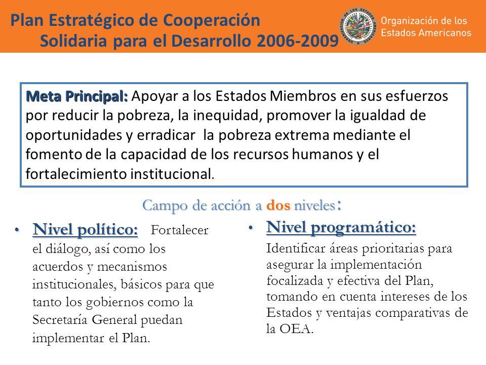 Plan Estratégico de Cooperación Solidaria para el Desarrollo 2006-2009 Nivel político: Nivel político: Fortalecer el diálogo, así como los acuerdos y mecanismos institucionales, básicos para que tanto los gobiernos como la Secretaría General puedan implementar el Plan.