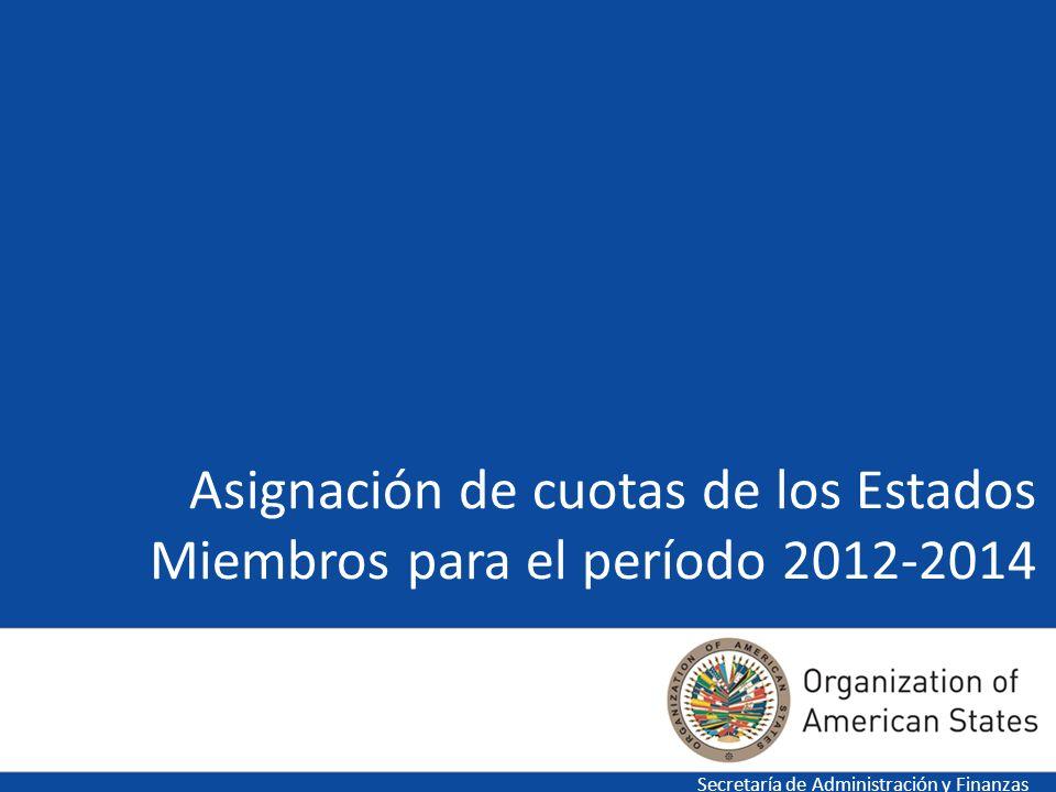 Asignación de cuotas de los Estados Miembros para el período 2012-2014 Secretaría de Administración y Finanzas