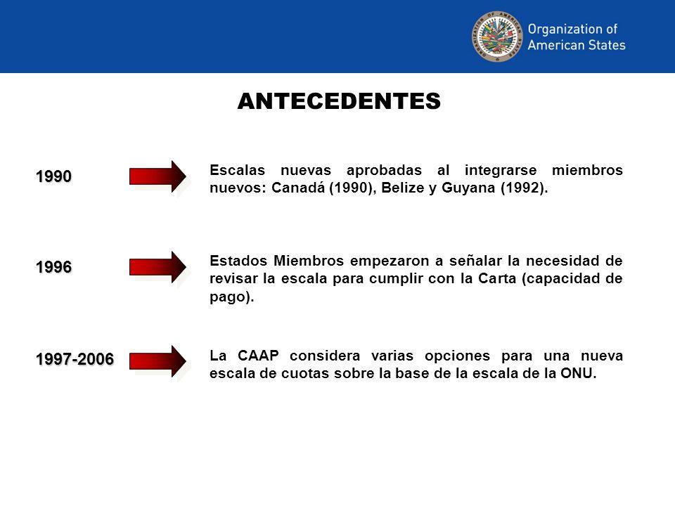 ANTECEDENTES 2006 Un grupo de expertos convocado por el Consejo Permanente discute las alternativas presentadas.