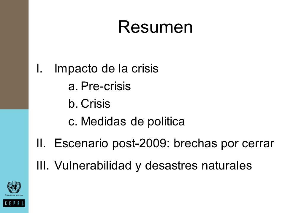 Resumen I.Impacto de la crisis a.Pre-crisis b.Crisis c.Medidas de politica II.Escenario post-2009: brechas por cerrar III.Vulnerabilidad y desastres naturales