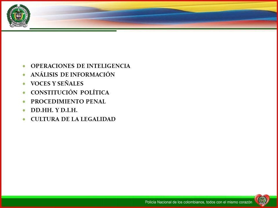 OPERACIONES DE INTELIGENCIA ANÁLISIS DE INFORMACIÓN VOCES Y SEÑALES CONSTITUCIÓN POLÍTICA PROCEDIMIENTO PENAL DD.HH. Y D.I.H. CULTURA DE LA LEGALIDAD