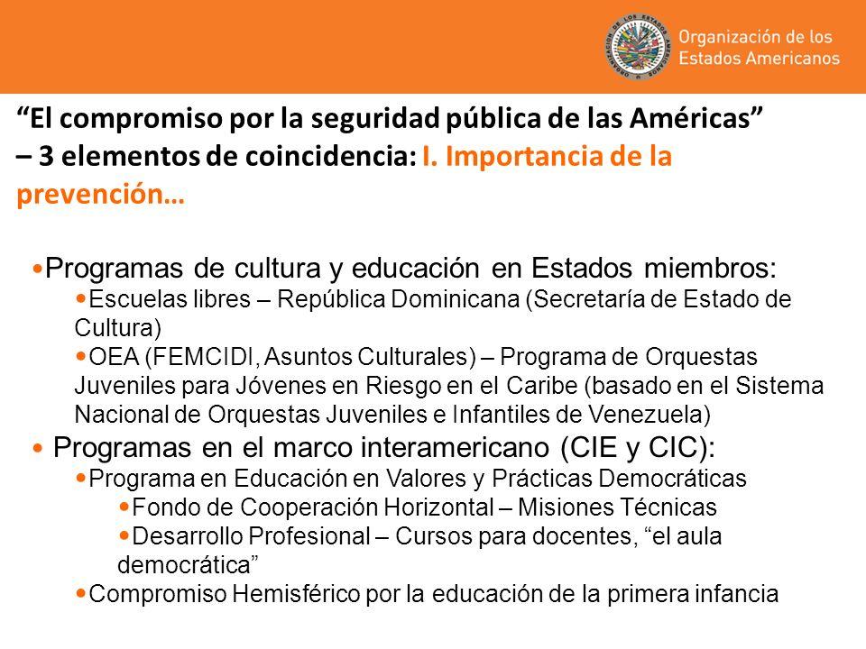 El compromiso por la seguridad pública de las Américas – 3 elementos de coincidencia: I.