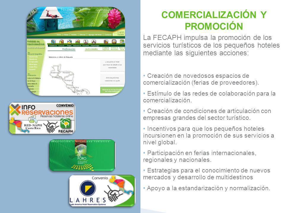 COMERCIALIZACIÓN Y PROMOCIÓN La FECAPH impulsa la promoción de los servicios turísticos de los pequeños hoteles mediante las siguientes acciones: Crea