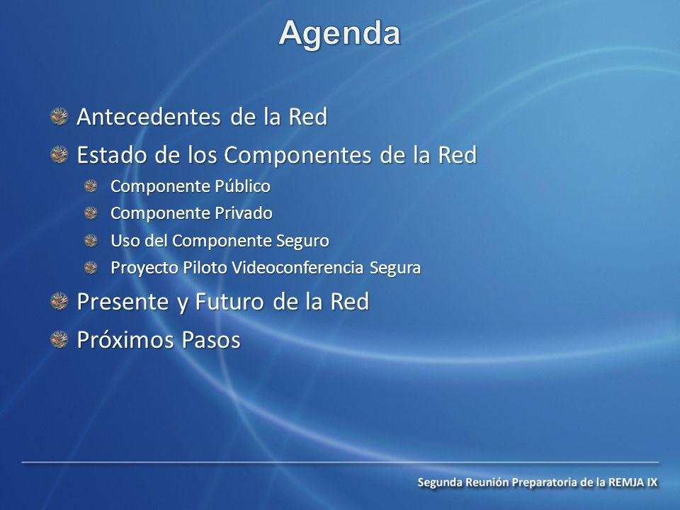 Antecedentes de la Red Estado de los Componentes de la Red Componente Público Componente Privado Uso del Componente Seguro Proyecto Piloto Videoconferencia Segura Presente y Futuro de la Red Próximos Pasos