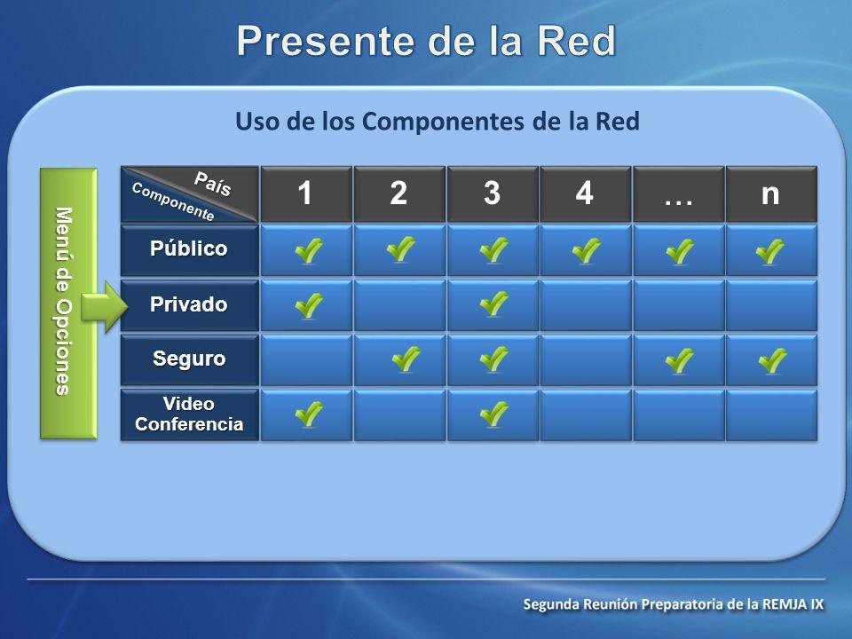 Uso de los Componentes de la Red 1 1 2 2 3 3 4 4... n n PúblicoPúblico PrivadoPrivado SeguroSeguro Video Conferencia Componente País Menú de Opciones