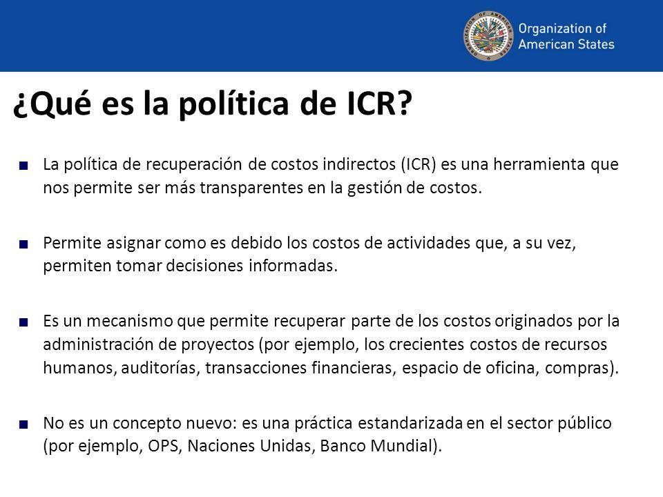 ¿Qué es la política de ICR? La política de recuperación de costos indirectos (ICR) es una herramienta que nos permite ser más transparentes en la gest