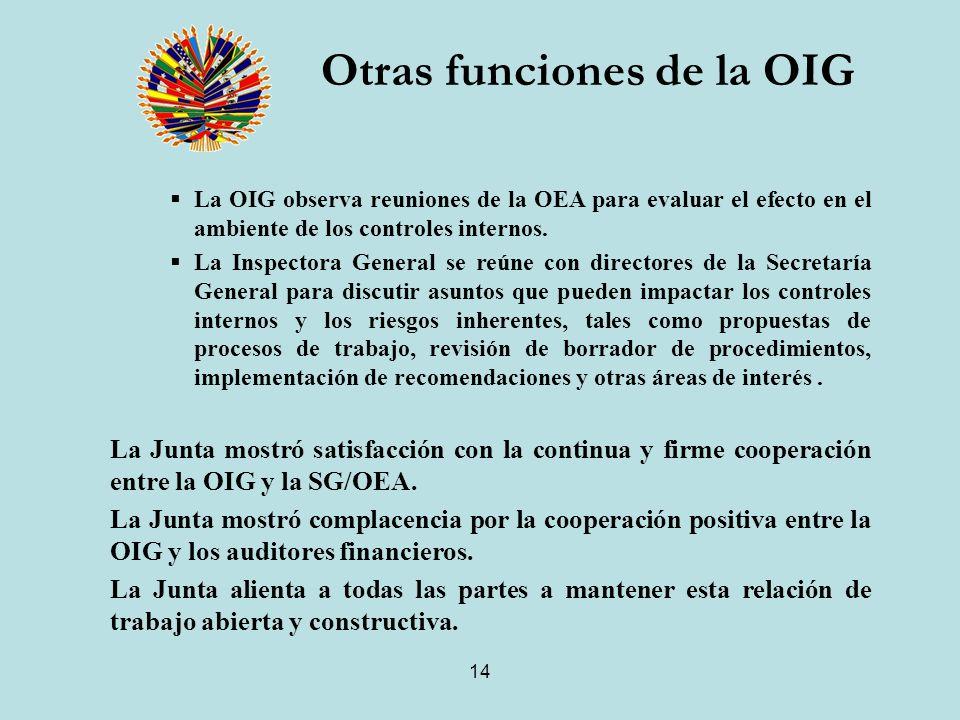 14 Otras funciones de la OIG La OIG observa reuniones de la OEA para evaluar el efecto en el ambiente de los controles internos.