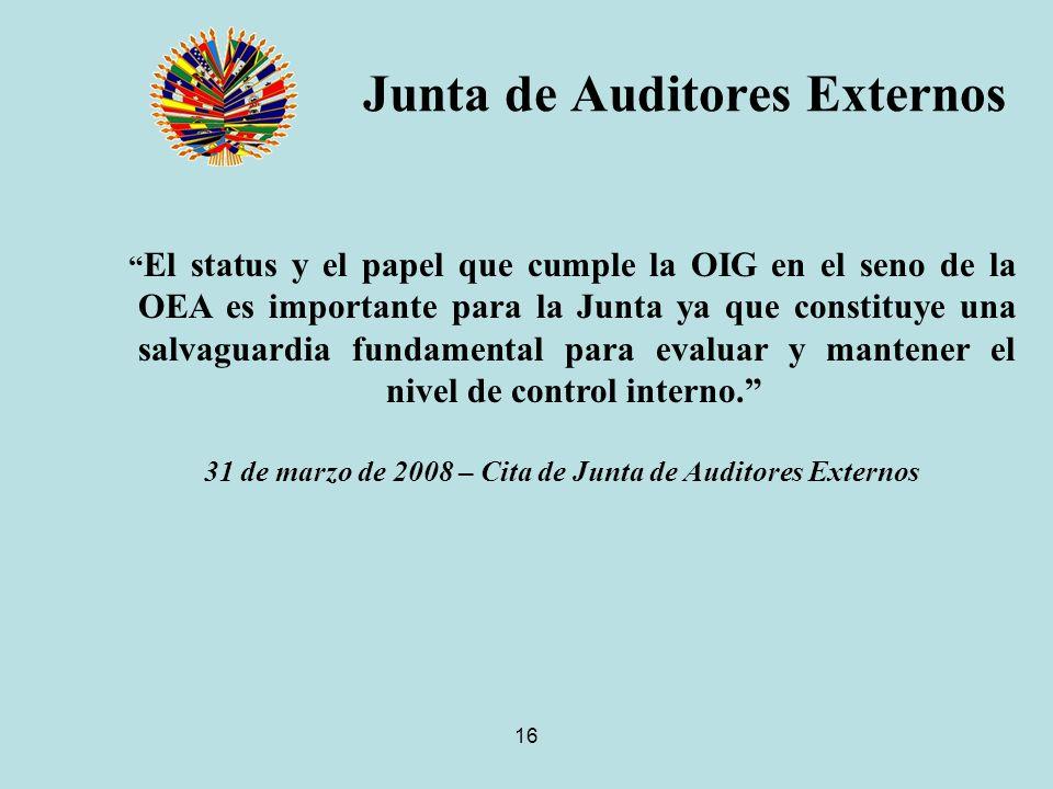 16 Junta de Auditores Externos El status y el papel que cumple la OIG en el seno de la OEA es importante para la Junta ya que constituye una salvaguardia fundamental para evaluar y mantener el nivel de control interno.